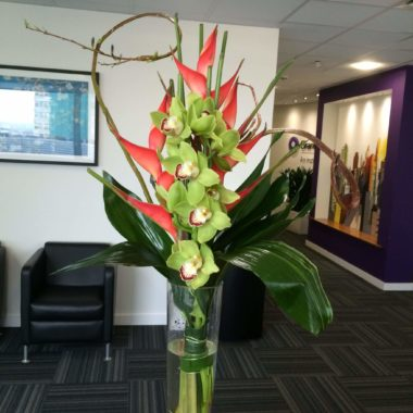 Contemporary design of Orchids and Heliconia