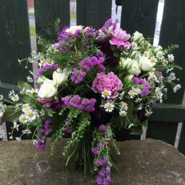 Lavender toned hand tied bouquet